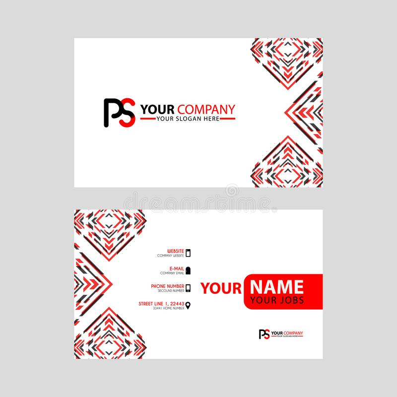 Modern business card templates, with PS logo Letter and horizontal design and red and black colors. vector illustration