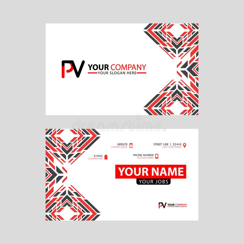 Modern business card templates, with PV logo Letter and horizontal design and red and black colors. stock illustration