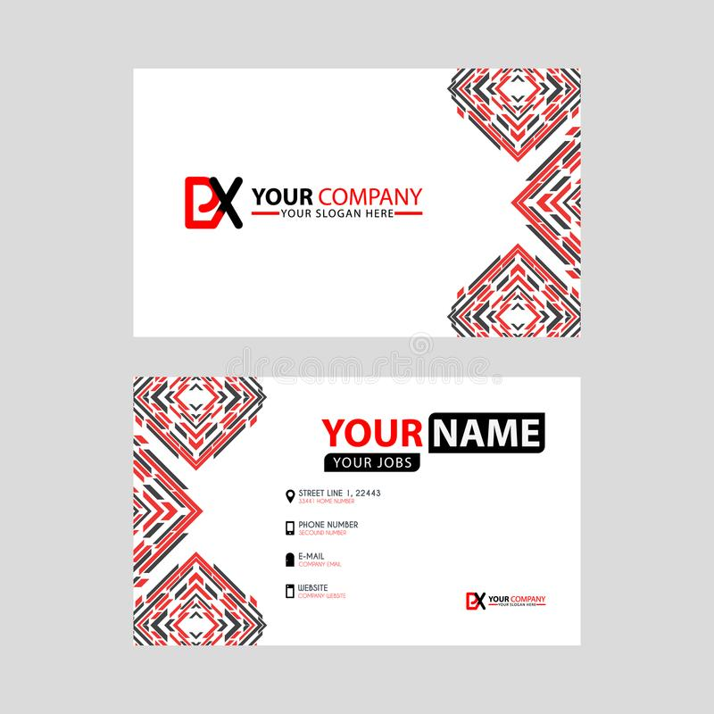 Modern business card templates, with PX logo Letter and horizontal design and red and black colors. vector illustration
