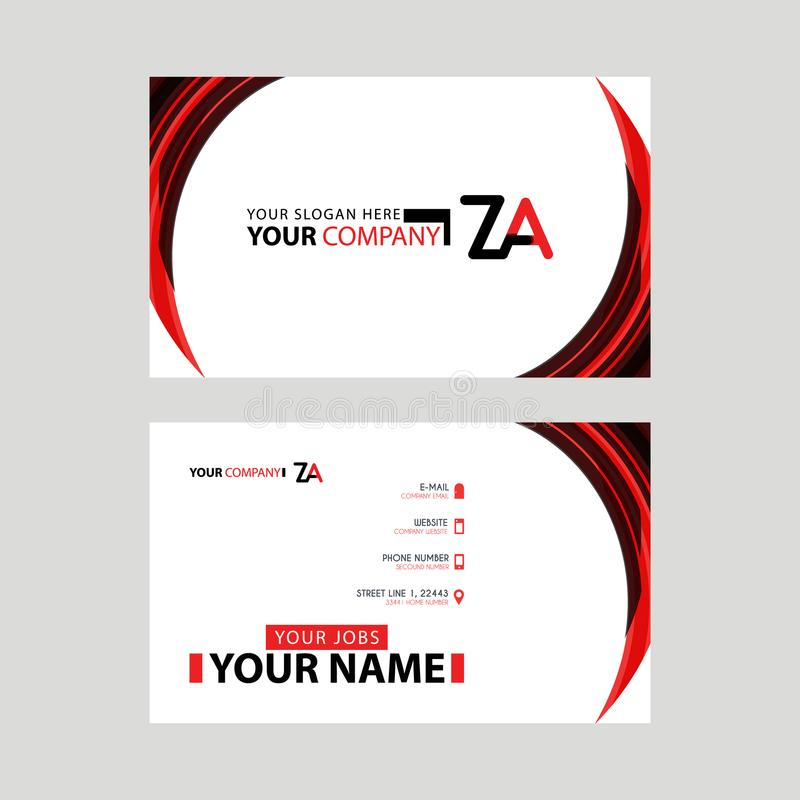 Modern business card templates, with ZA logo Letter and horizontal design and red and black colors. stock illustration