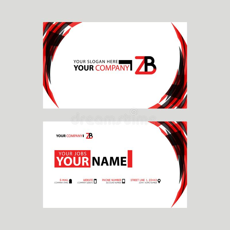 Modern business card templates, with ZB logo Letter and horizontal design and red and black colors. vector illustration