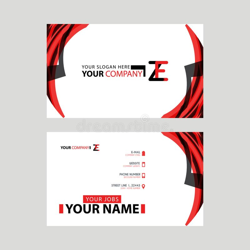 Modern business card templates, with ZE logo Letter and horizontal design and red and black colors. vector illustration