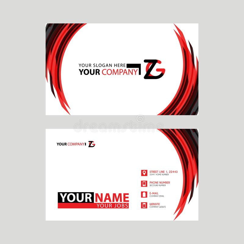 Modern business card templates, with ZG logo Letter and horizontal design and red and black colors. royalty free illustration