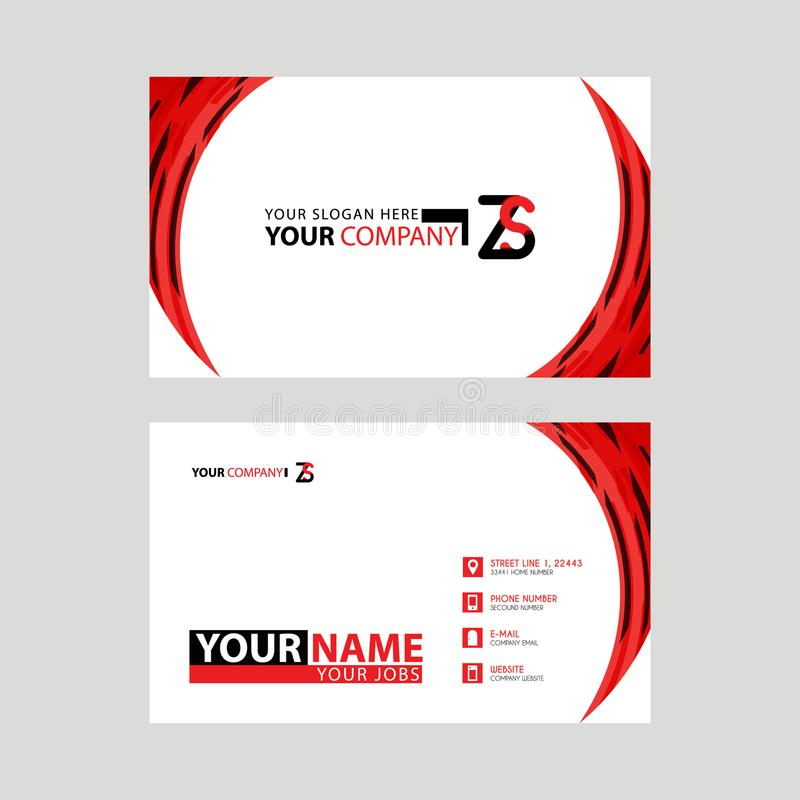 Modern business card templates, with ZS logo Letter and horizontal design and red and black colors. stock illustration