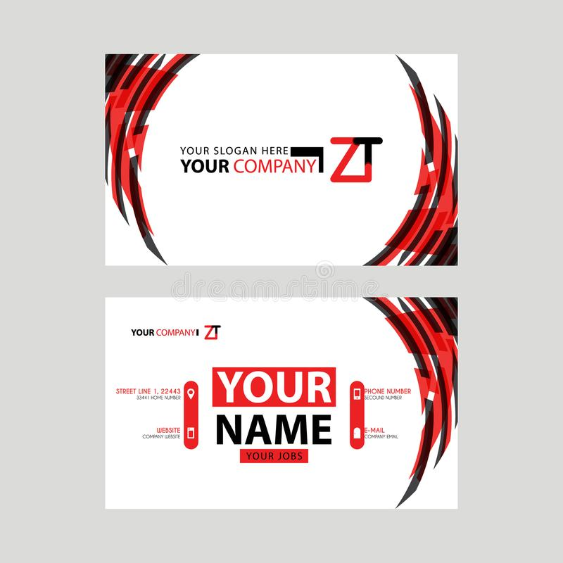 Modern business card templates, with ZT logo Letter and horizontal design and red and black colors. royalty free illustration