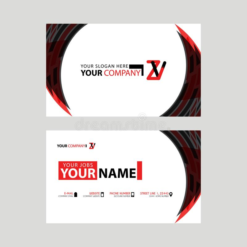 Modern business card templates, with ZV logo Letter and horizontal design and red and black colors. royalty free illustration