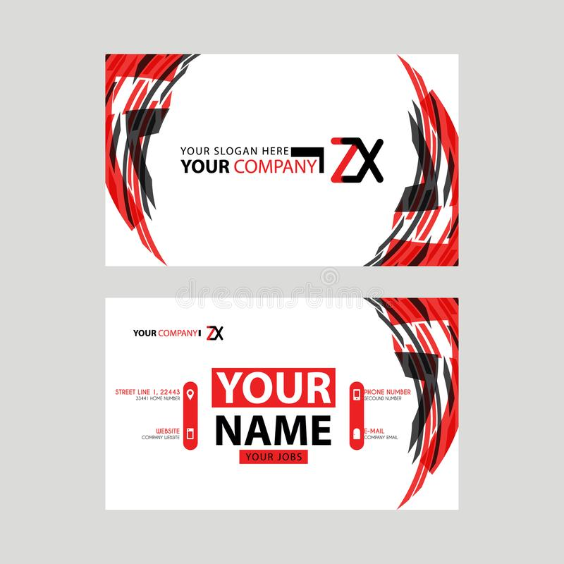 Modern business card templates, with ZX logo Letter and horizontal design and red and black colors. stock illustration