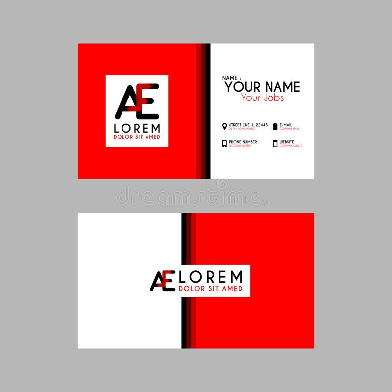 Modern Creative Business Card Template with AE ribbon Letter Logo. Something like Modern Creative Business Card Template with AE ribbon Letter Logo stock illustration