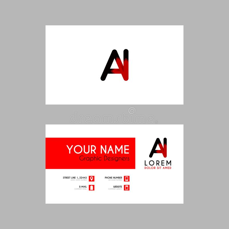 Modern Creative Business Card Template With AI Ribbon Letter Logo - Business card template ai