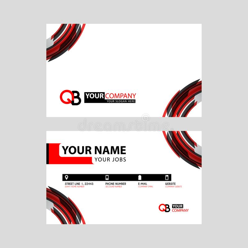Modern simple horizontal design business cards. with QB Logo inside and transparent red black color. royalty free illustration