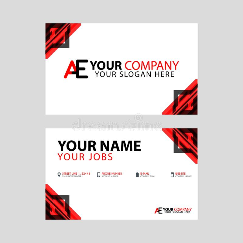 The new simple business card is red black with the AE logo Letter bonus and horizontal modern clean template vector design. Something like The new simple stock illustration