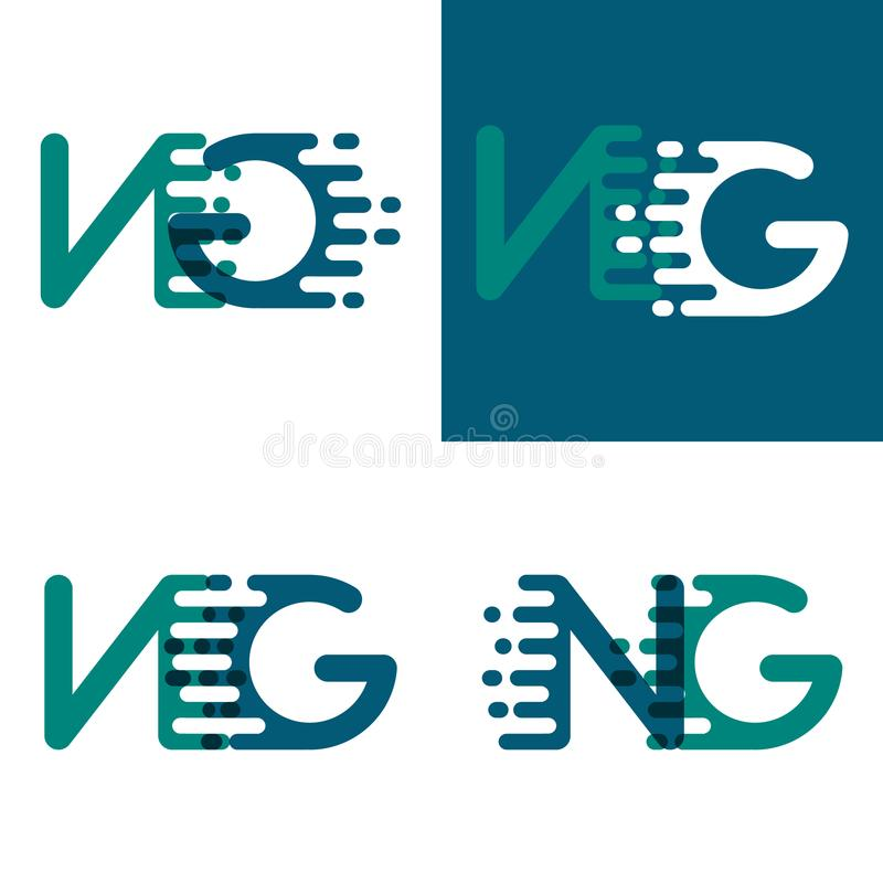 NG letters logo with accent speed in green and dark purple stock illustration