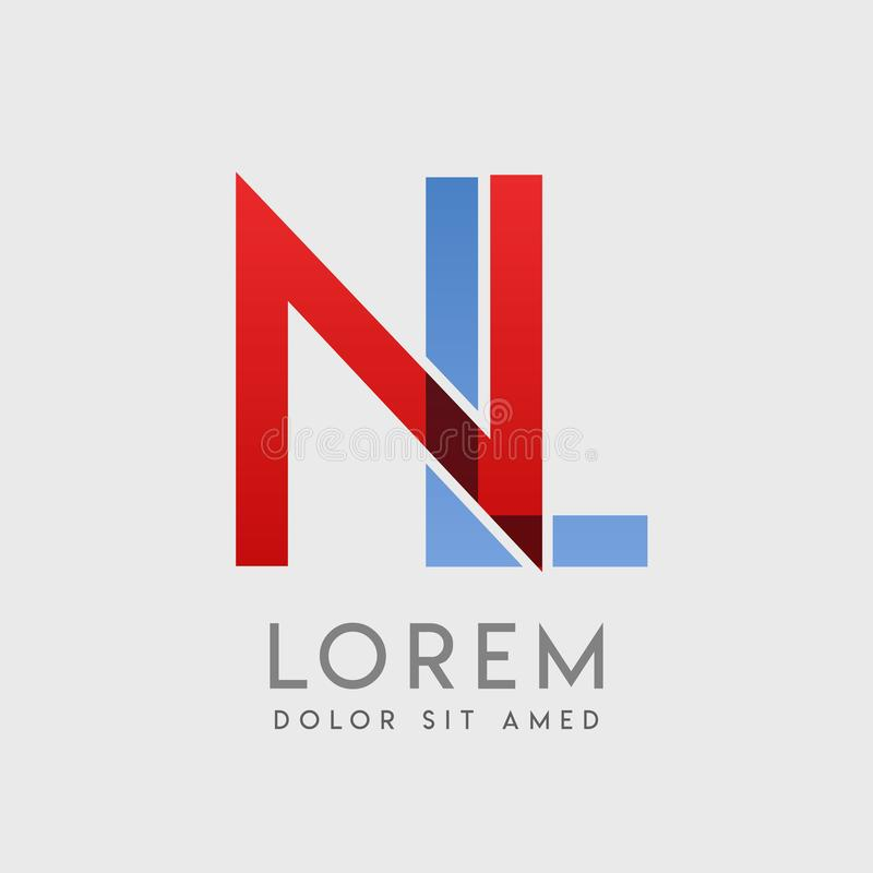 NL logo letters with blue and red gradation vector illustration