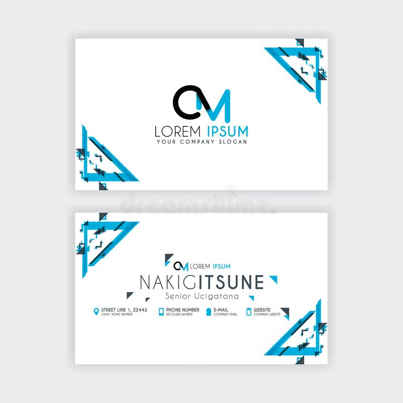 Simple Business Card With Initial Letter CM Rounded Edges With A ...
