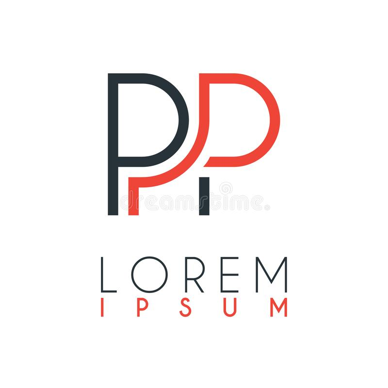 Something like The logo between the letter P and letter P or PP with a certain distance and connected by orange and gray color royalty free illustration
