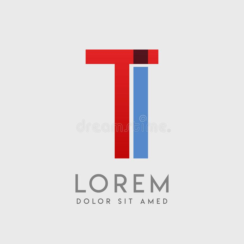 TI logo letters with & x22;blue and red& x22; gradation stock illustration