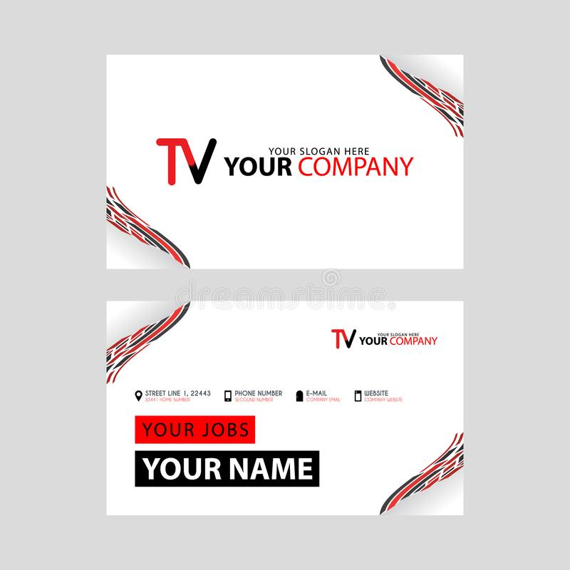The TV logo on the red black business card with a modern design is horizontal and clean. and transparent decoration on the edges. vector illustration