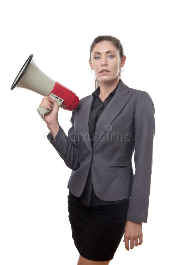 Something to shout about. Business woman holding a bullhorn royalty free stock images