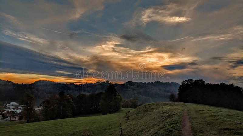 Sunset over ridge near Wald Switzerland. royalty free stock image
