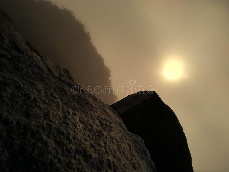 Light through the misty dusk stock image