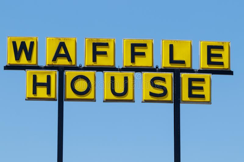 Anderson - Circa April 2018: Somewhat disheveled sign of Iconic southern restaurant chain Waffle House III. Somewhat disheveled sign of Iconic southern royalty free stock photography
