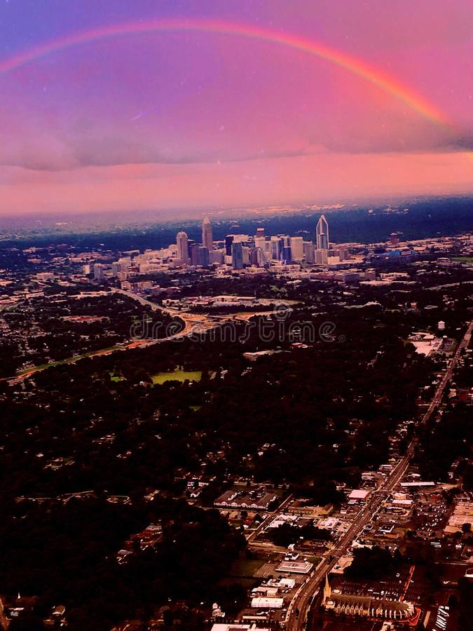 Somewhere over the rainbow. Charlotte, north, northcarina, northcarolina, flight, flying stock image