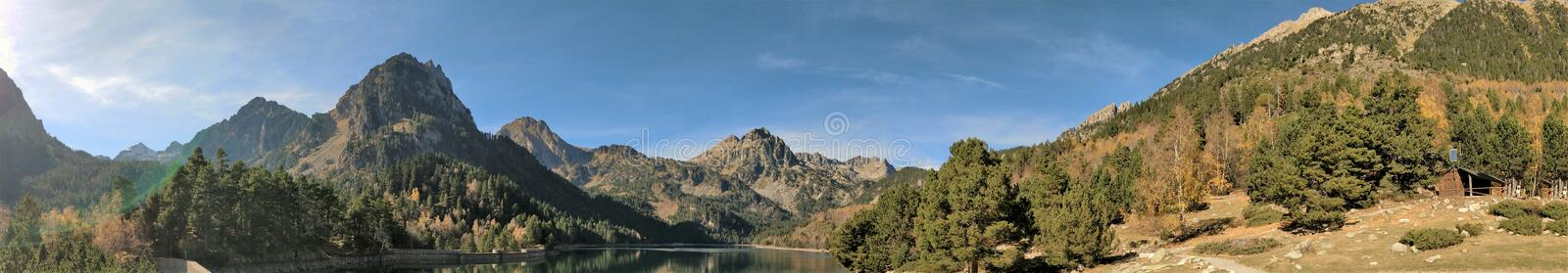 The mountains sights among the lake royalty free stock photo