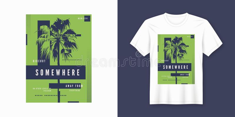 Somewhere t-shirt and apparel trendy design with palm tree silhouette, typography, poster, print, vector illustration. vector illustration
