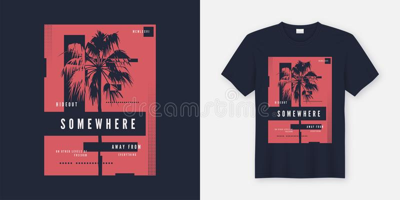 Somewhere t-shirt and apparel trendy design with palm tree silhouette, typography, poster, print, vector illustration. stock illustration