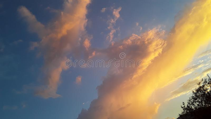 Somiglianza di apparizione aviaria o forme del drago al tramonto fotografie stock