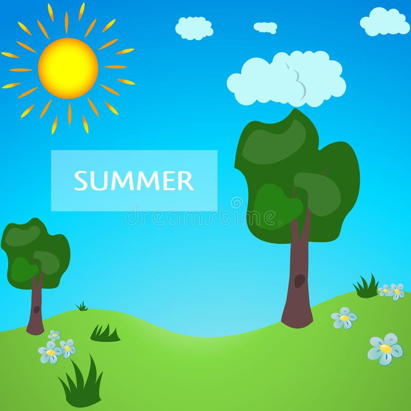 Sommaräng mycket av tecknad filmstil Gräsplan parkerar Sommar parkerar, sommarskogen stock illustrationer
