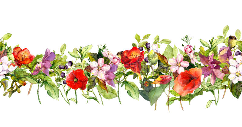Sommarängblommor och fjärilar Upprepa ramen vattenfärg stock illustrationer