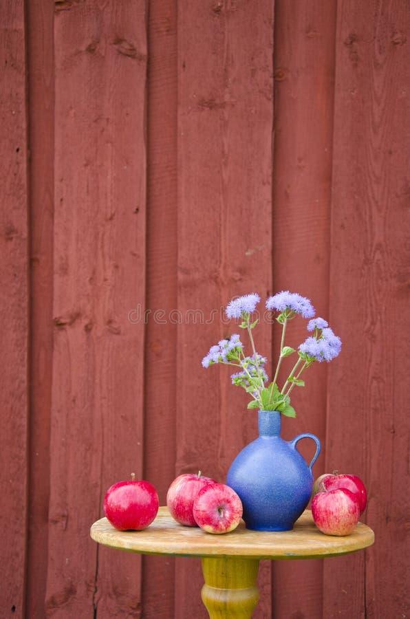 Sommaräpple och blåttvas med blommor royaltyfria foton