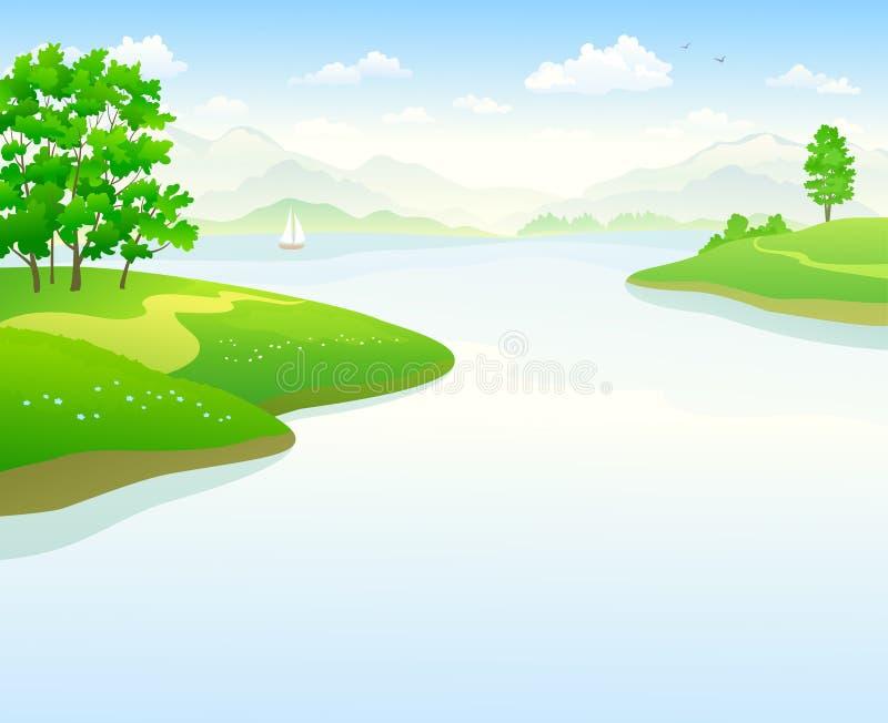 Sommar bakgrund för tecknad film för sjölandskap vektor illustrationer