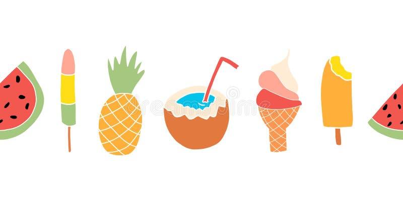 Sommar behandlar den sömlösa vektorgränsen Upprepa banerdesign med vattenmelon, isglass, ananas, kokosnöt, glass royaltyfri illustrationer