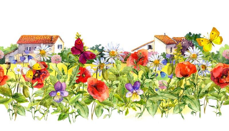Sommar blommar - vallmo, kamomillen, änggräs, fjärilar, lantgårdhus blom- kant vattenfärg seamless ram royaltyfri foto