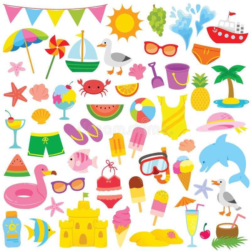 Sommar Clipart för ungar stock illustrationer