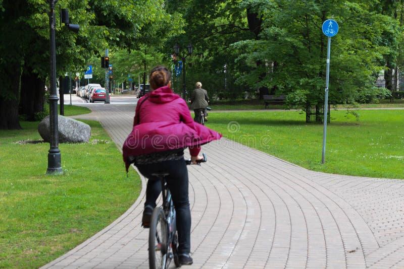 Sommar Cykelväg i stad riga latvia royaltyfria foton