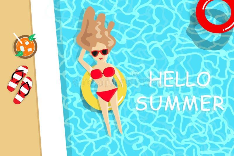 Sommar damen som bär den röda bikinin, har en sunbath på simbassängen, säsongsbetonad feriesemester, kopplar av tidbakgrundsvekto stock illustrationer