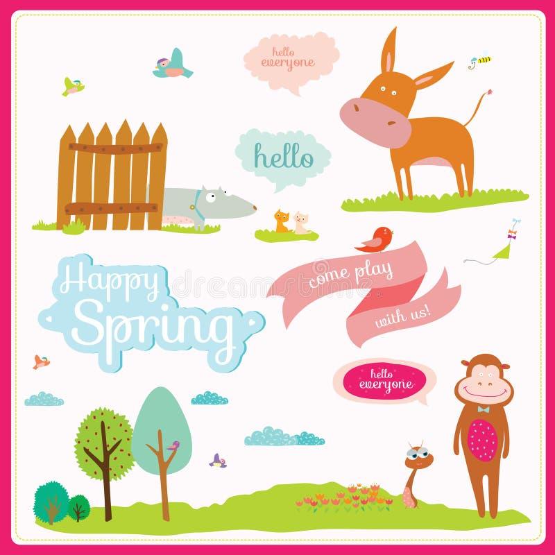 Sommar- eller vårillustration med roliga djur stock illustrationer