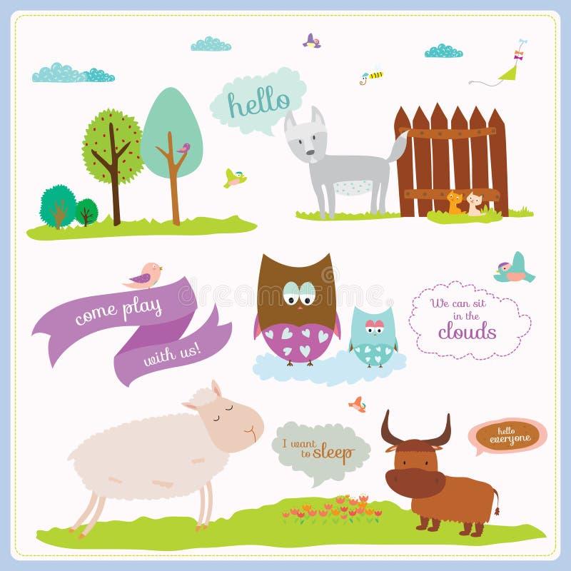 Sommar- eller vårillustration med roliga djur royaltyfri illustrationer