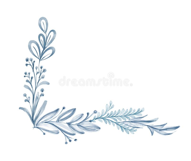 Sommar för blad för vattenfärgblommahörn som isoleras på vit bakgrund för hälsningkort för bröllopet, St-valentin` s stock illustrationer