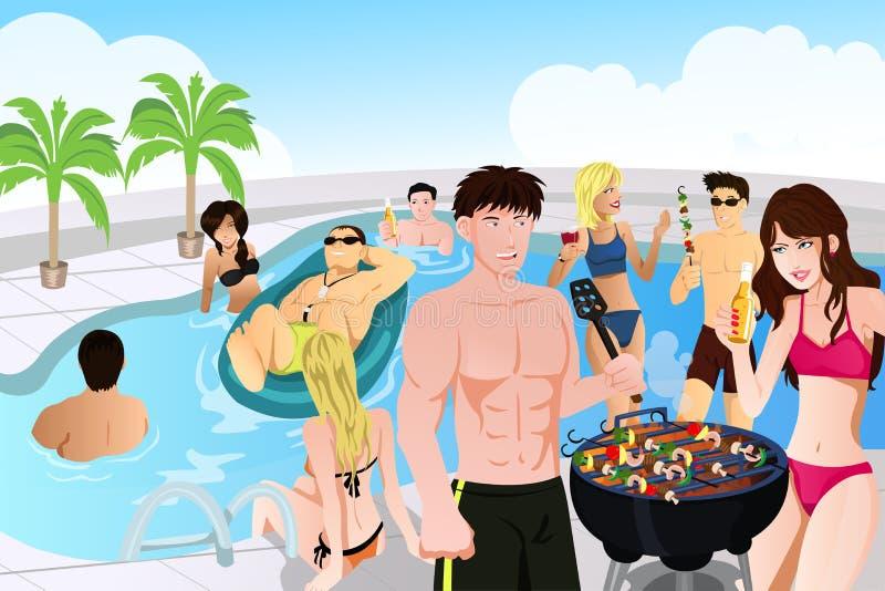 sommar för grillfestdeltagarepöl stock illustrationer
