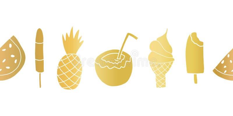 Sommar för guld- folie behandlar den sömlösa upprepande vektorgränsen Baner med vattenmelon, isglass, ananas, kokosnöt, is vektor illustrationer