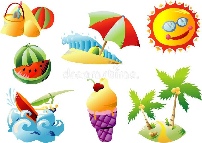 sommar för konststrandgem vektor illustrationer