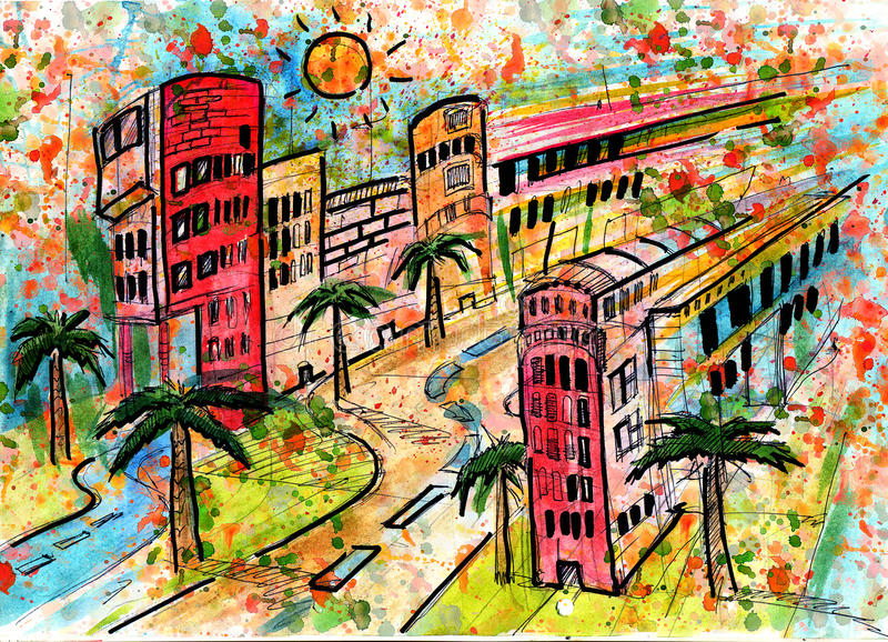 sommar för storstadväggata royaltyfri illustrationer