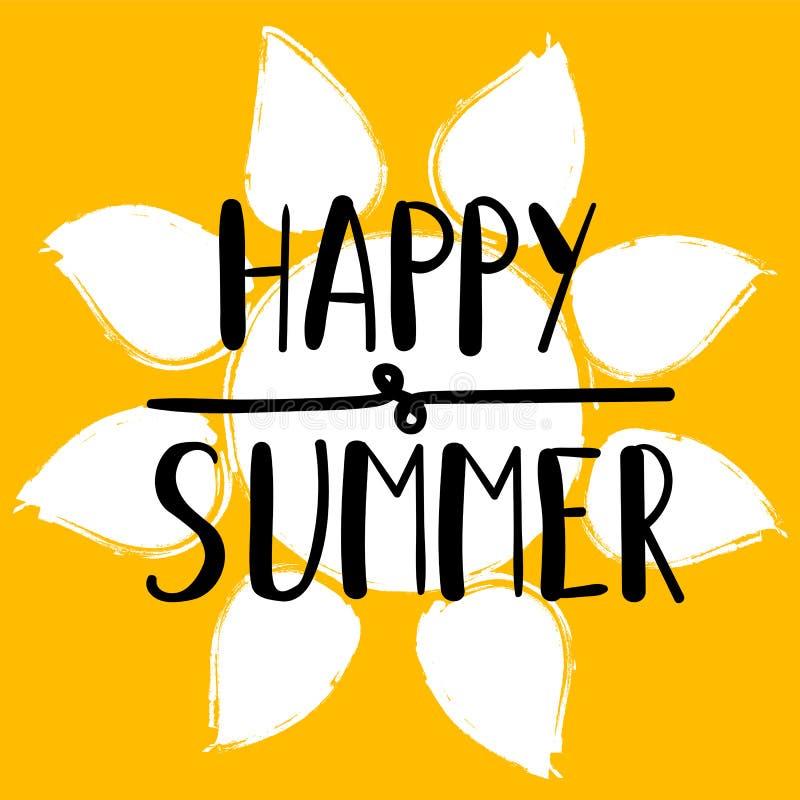 Sommar för stycke för handbokstäverkonst lycklig på bakgrunden av den gula solen Hand dragit typografibegrepp ljus vektorvärld fö vektor illustrationer