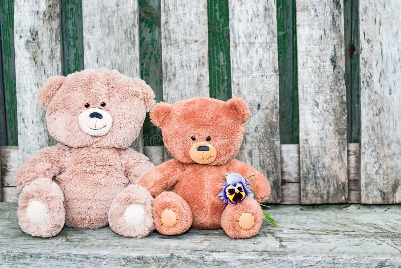 Sommar för två leksaker för nallebjörnar med blommor på tappningen träbakgrund, arkivfoton
