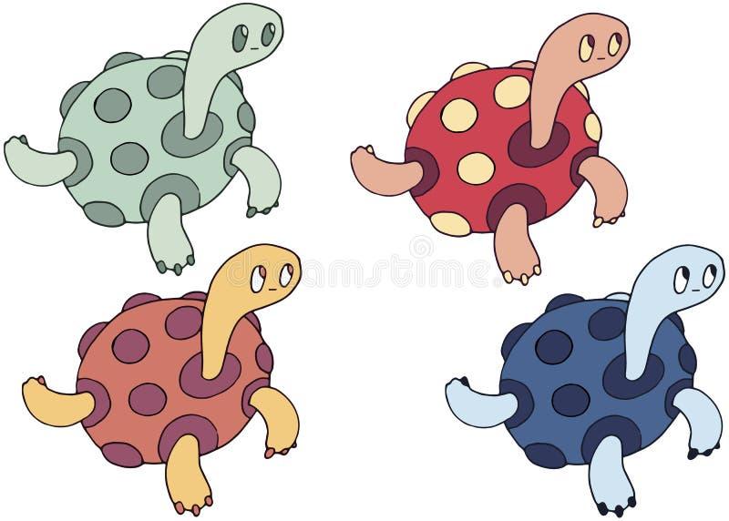 Sommar för uppsättning för färg för attraktion för hand för klotter för tecknad filmsköldpadda gigantisk lycklig royaltyfri illustrationer