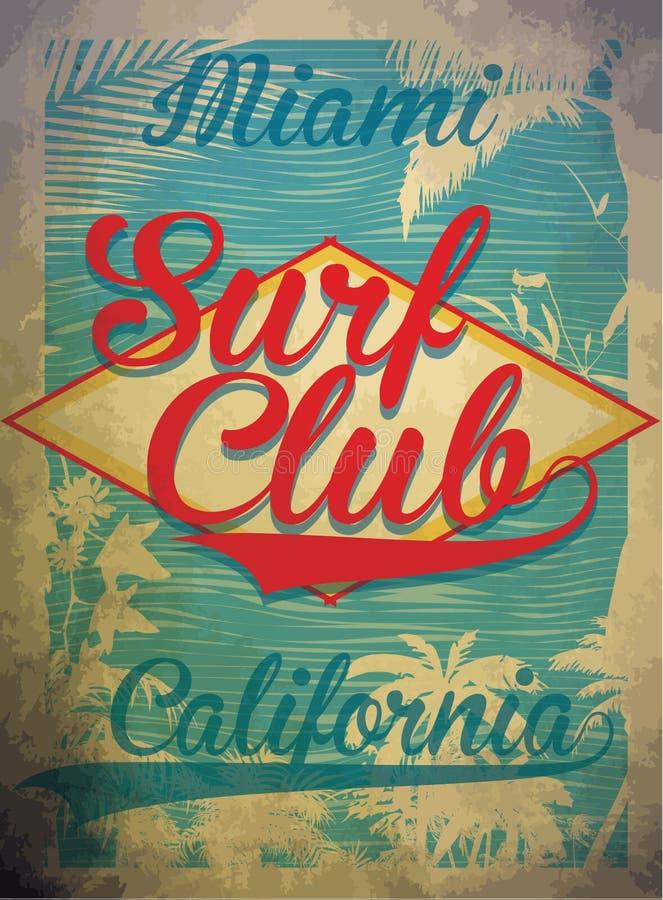 Sommar för vektor för begrepp för Miami Beach bränningklubba som surfar det retro emblemet vektor illustrationer